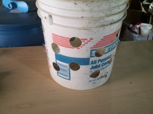 bucket with holes drilled in sides