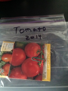 tomato seeds in a plastic bag