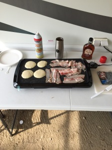 bacon and pancakes cooking