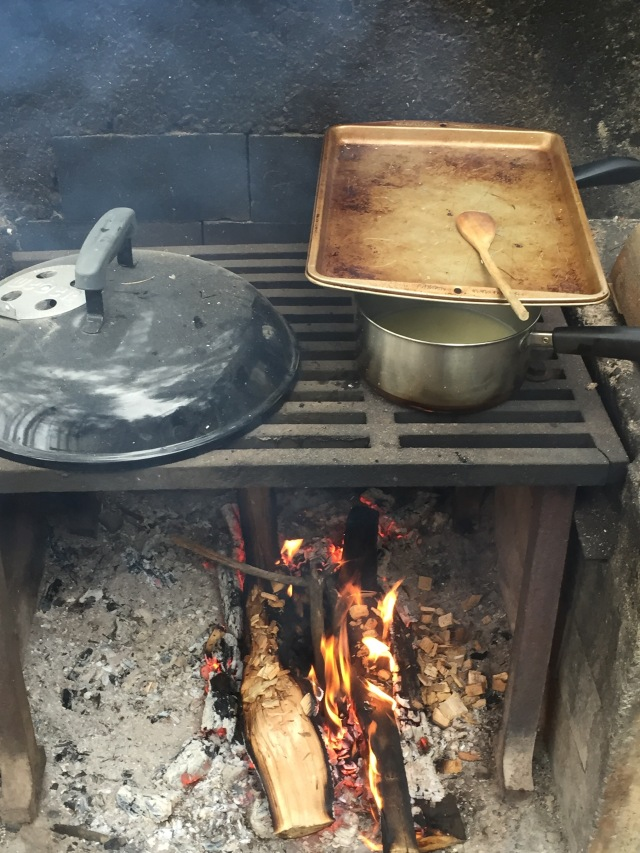 food cooking over a campfire